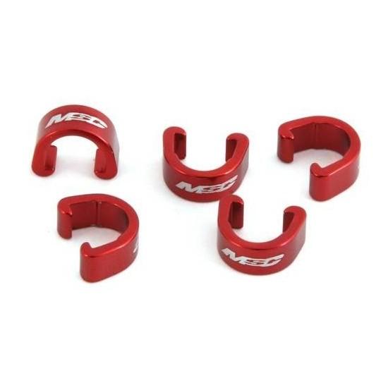 Clips Sujeta Cables al Cuadro Aluminio Rojos x 5 unds