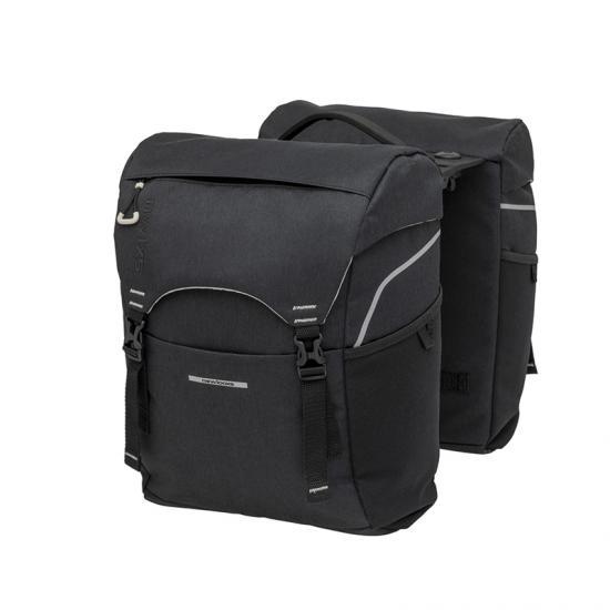 Alforjas New Looxs Sports Racktime 32l Impermeable Poliester Negro Con Reflectantes  (39x29x16 Cm) - Imagen 1